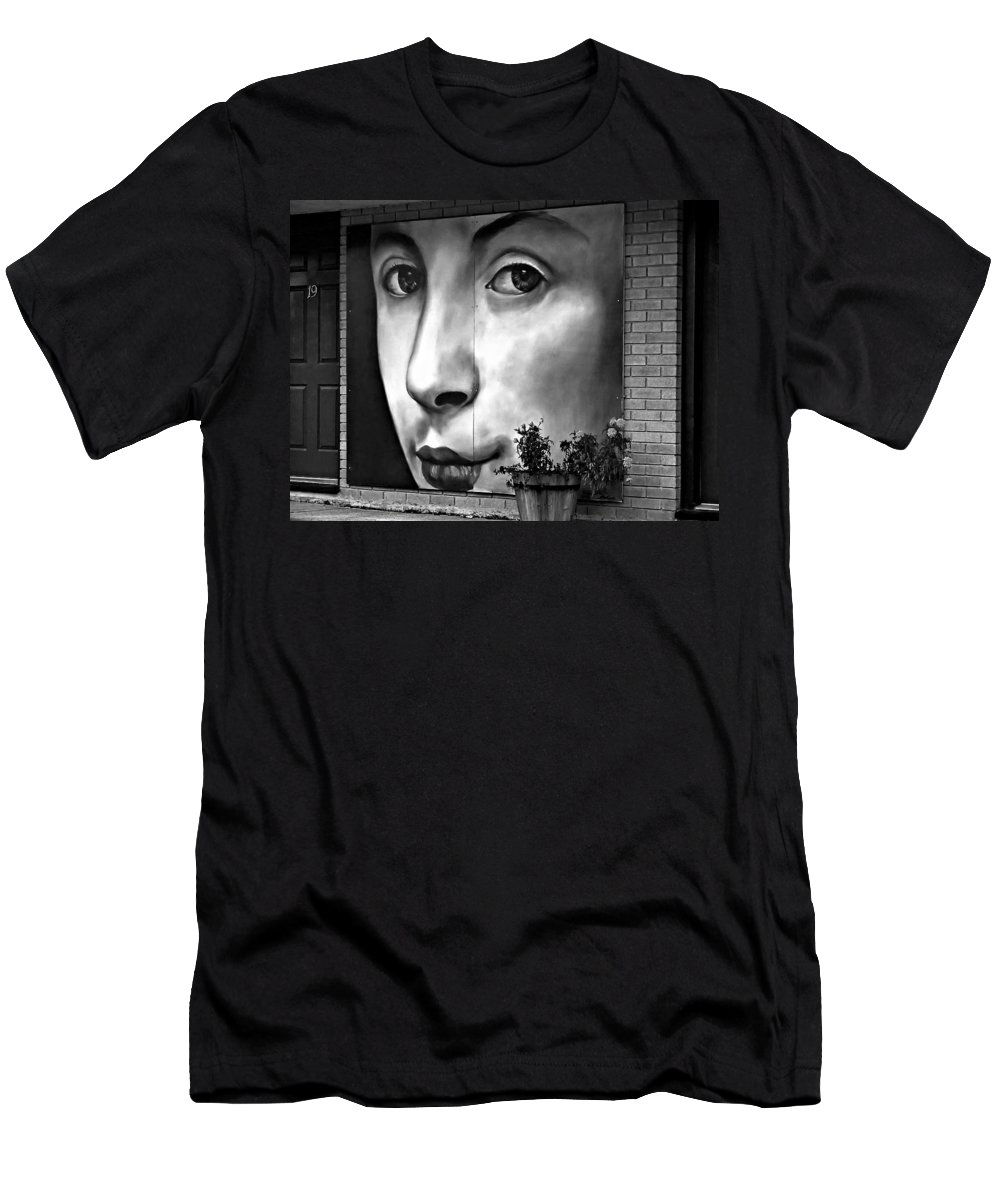 Street Art Men's T-Shirt (Athletic Fit) featuring the photograph Between Closed Doors Bw by Steve Harrington