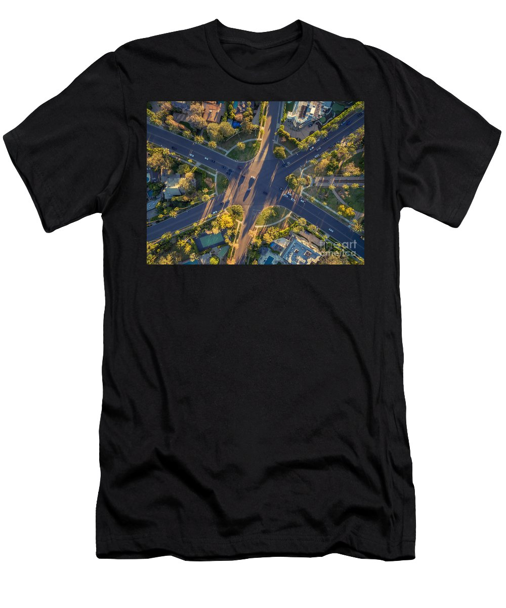 City Men's T-Shirt (Athletic Fit) featuring the photograph Beverly Hills Streets, Aerial View by Konstantin Sutyagin
