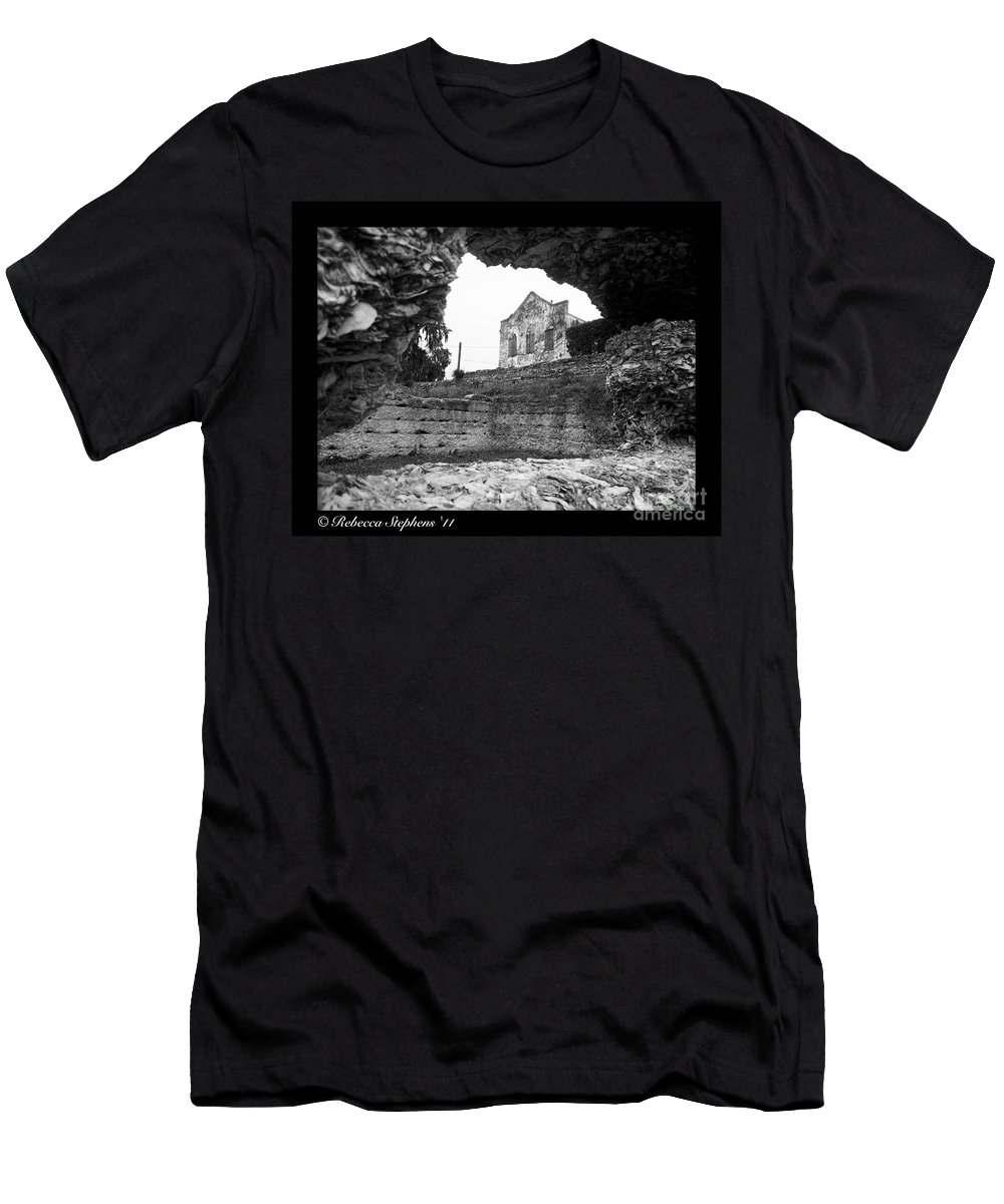 Tabby Ruins Men's T-Shirt (Athletic Fit) featuring the photograph Beware The Warehouse by Rebecca Stephens