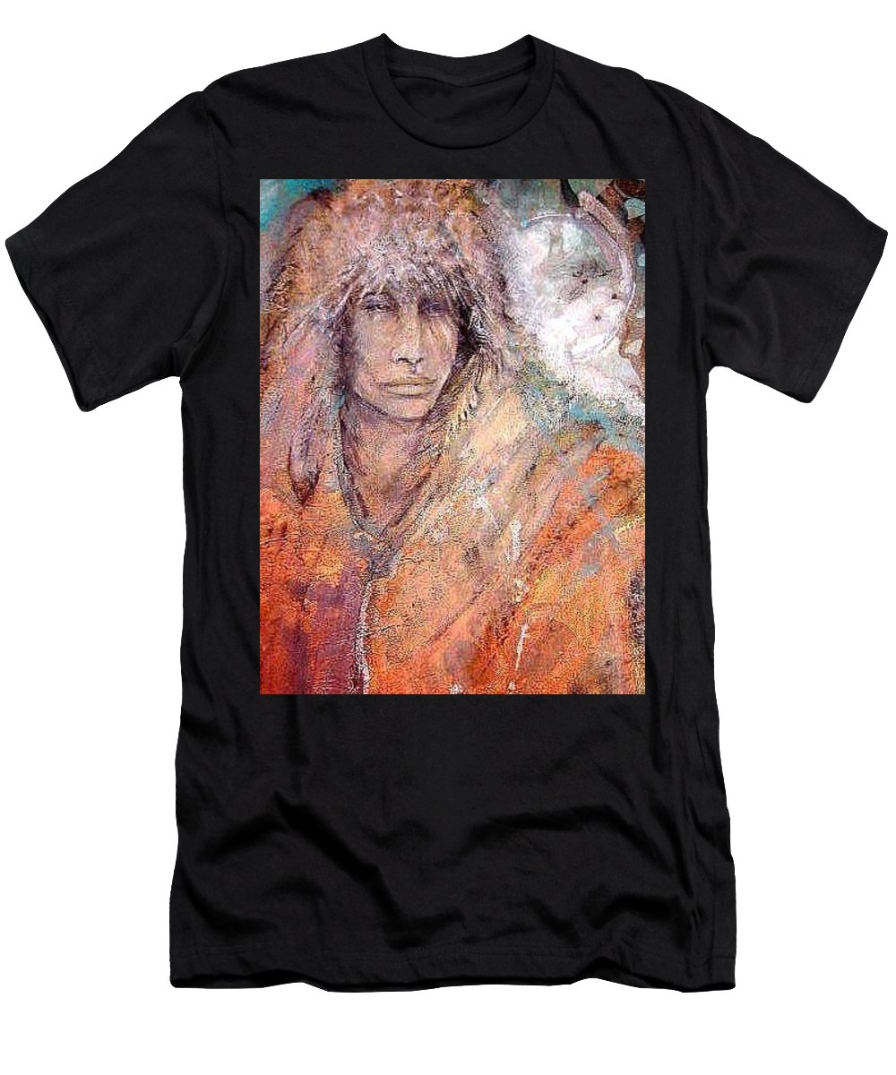 Indian T-Shirt featuring the painting Bewildered by Barbara Lemley