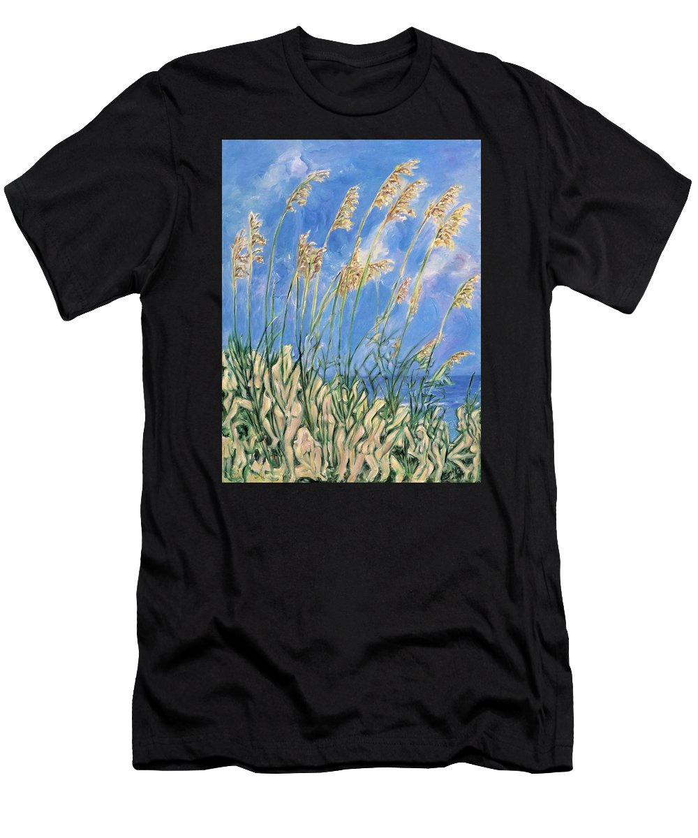 Sand Dunes Men's T-Shirt (Athletic Fit) featuring the painting Beyond The Dunes by Maya Soaringsun