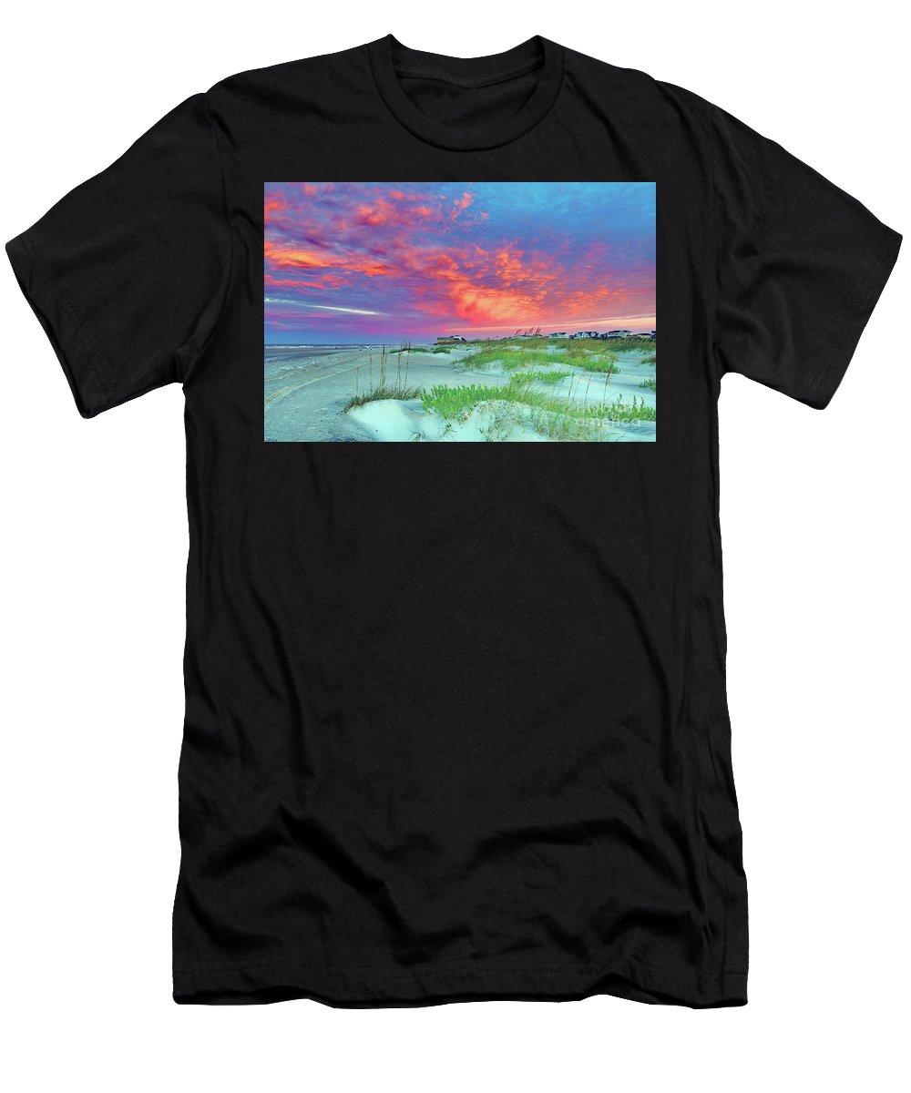 Holden Beach Men's T-Shirt (Athletic Fit) featuring the photograph Beyond The Dunes by Terrah Hewett