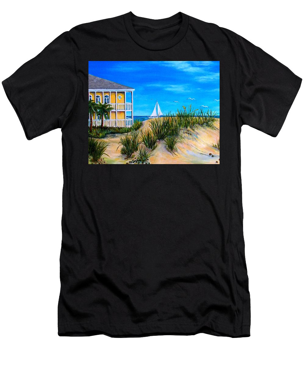 Beach House Men's T-Shirt (Athletic Fit) featuring the painting Beyond The Dunes by Trisha Calabrese
