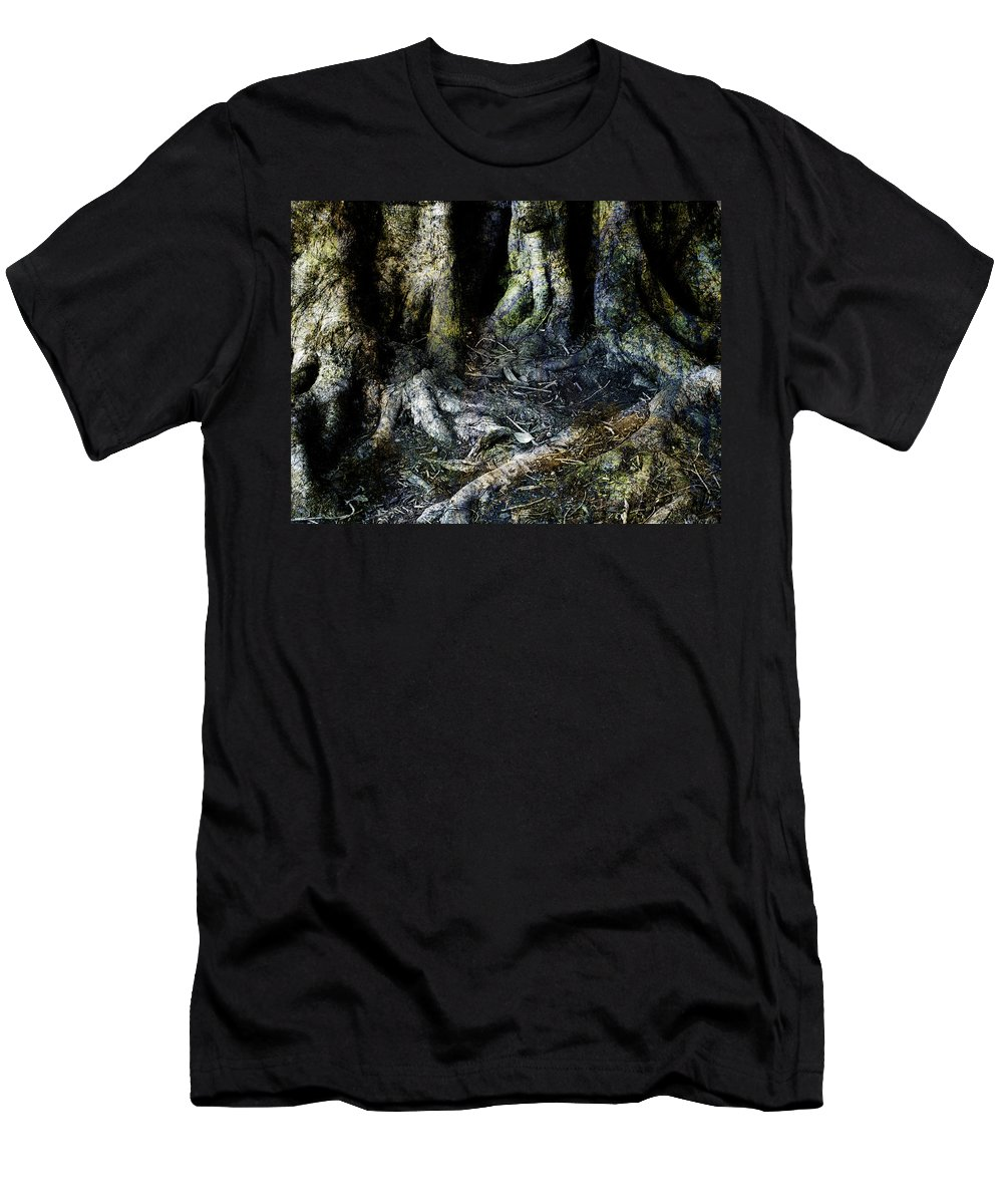 Tree Men's T-Shirt (Athletic Fit) featuring the photograph Beyond The Forest Edge by Kelly Jade King