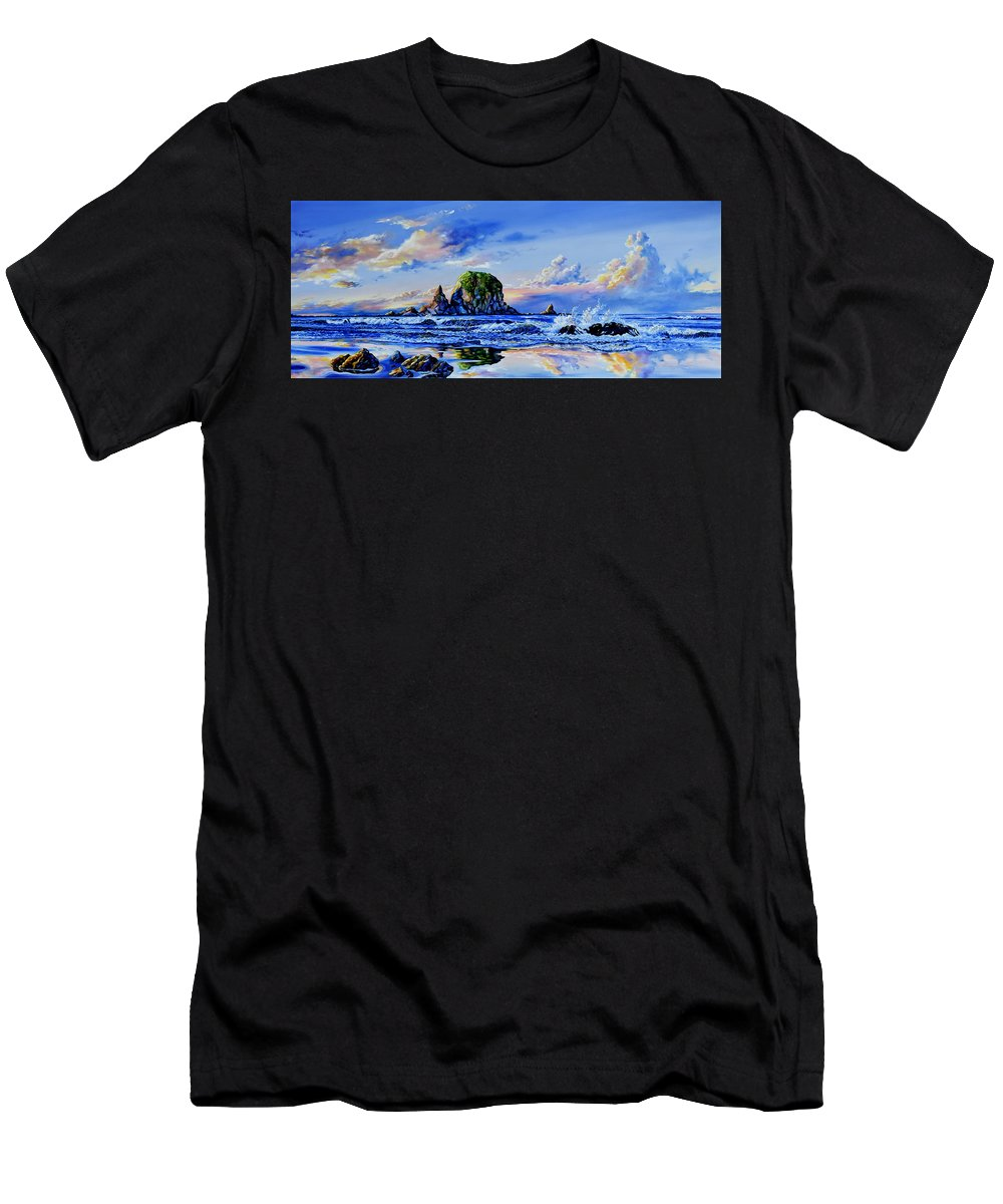Washington Men's T-Shirt (Athletic Fit) featuring the painting Beyond The Shore by Hanne Lore Koehler