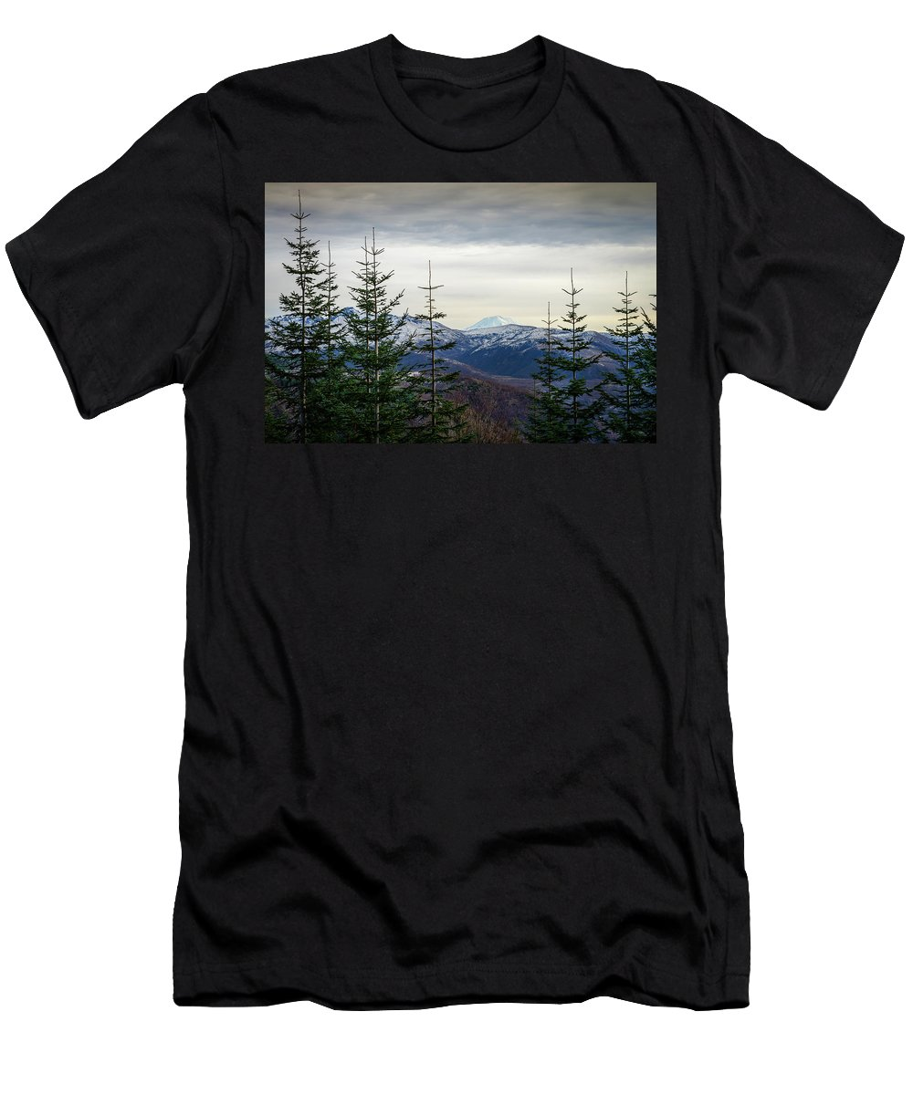 Landscape Men's T-Shirt (Athletic Fit) featuring the photograph Beyond The Trees by Michael Scott