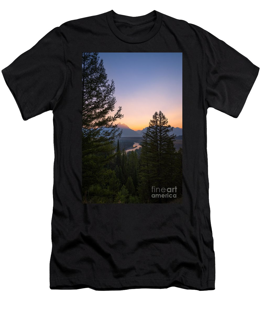 Beyond The Trees Men's T-Shirt (Athletic Fit) featuring the photograph Beyond The Trees by Michael Ver Sprill