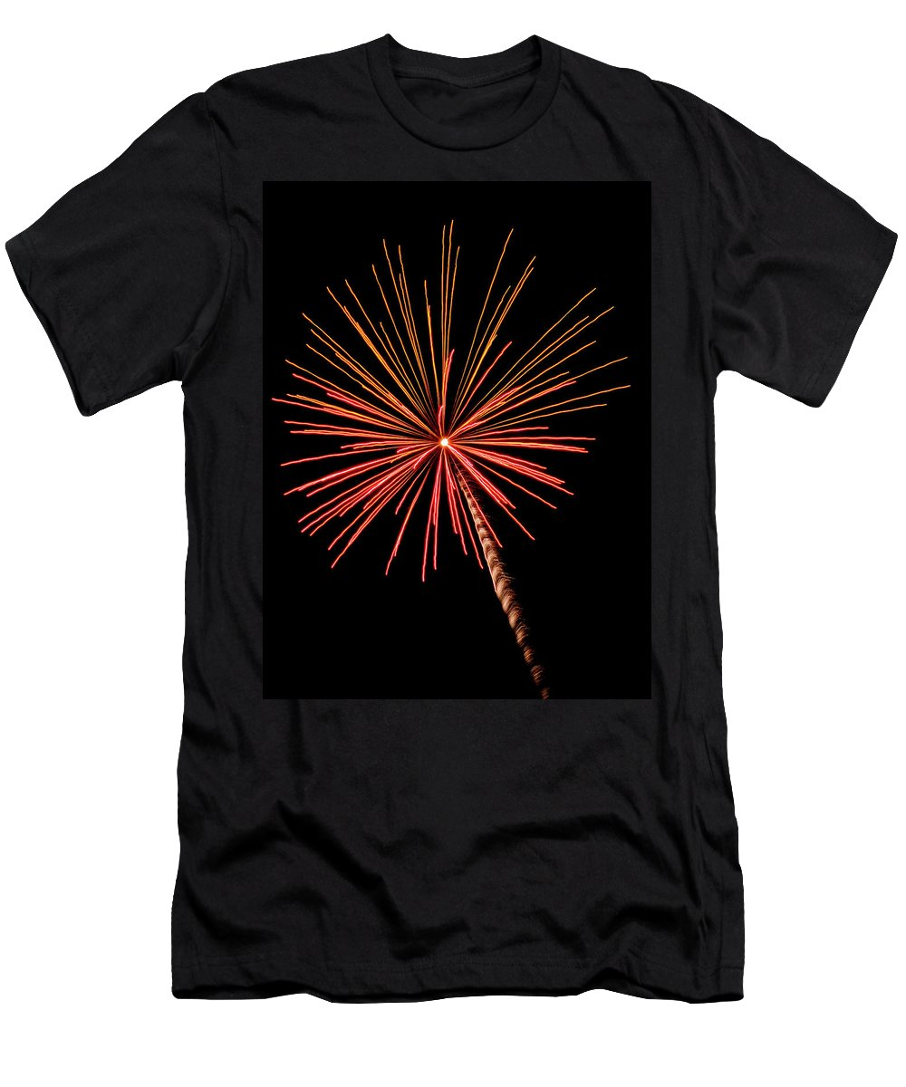 Bi-color Fireworks 2 Men's T-Shirt (Athletic Fit) featuring the photograph Bi-color Fireworks 2 by Cynthia Woods
