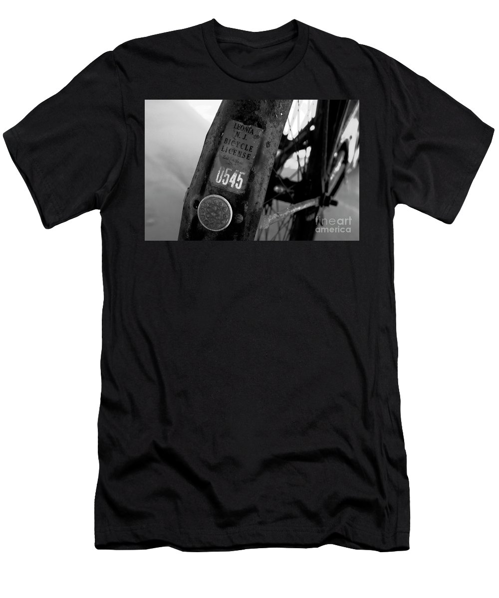 Fine Art Photography Men's T-Shirt (Athletic Fit) featuring the photograph Bicycle License by David Lee Thompson