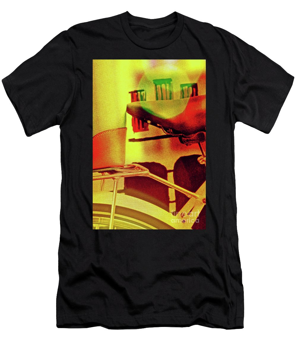 Semi-abstract Men's T-Shirt (Athletic Fit) featuring the photograph Bicycle Seat by Michael Cinnamond
