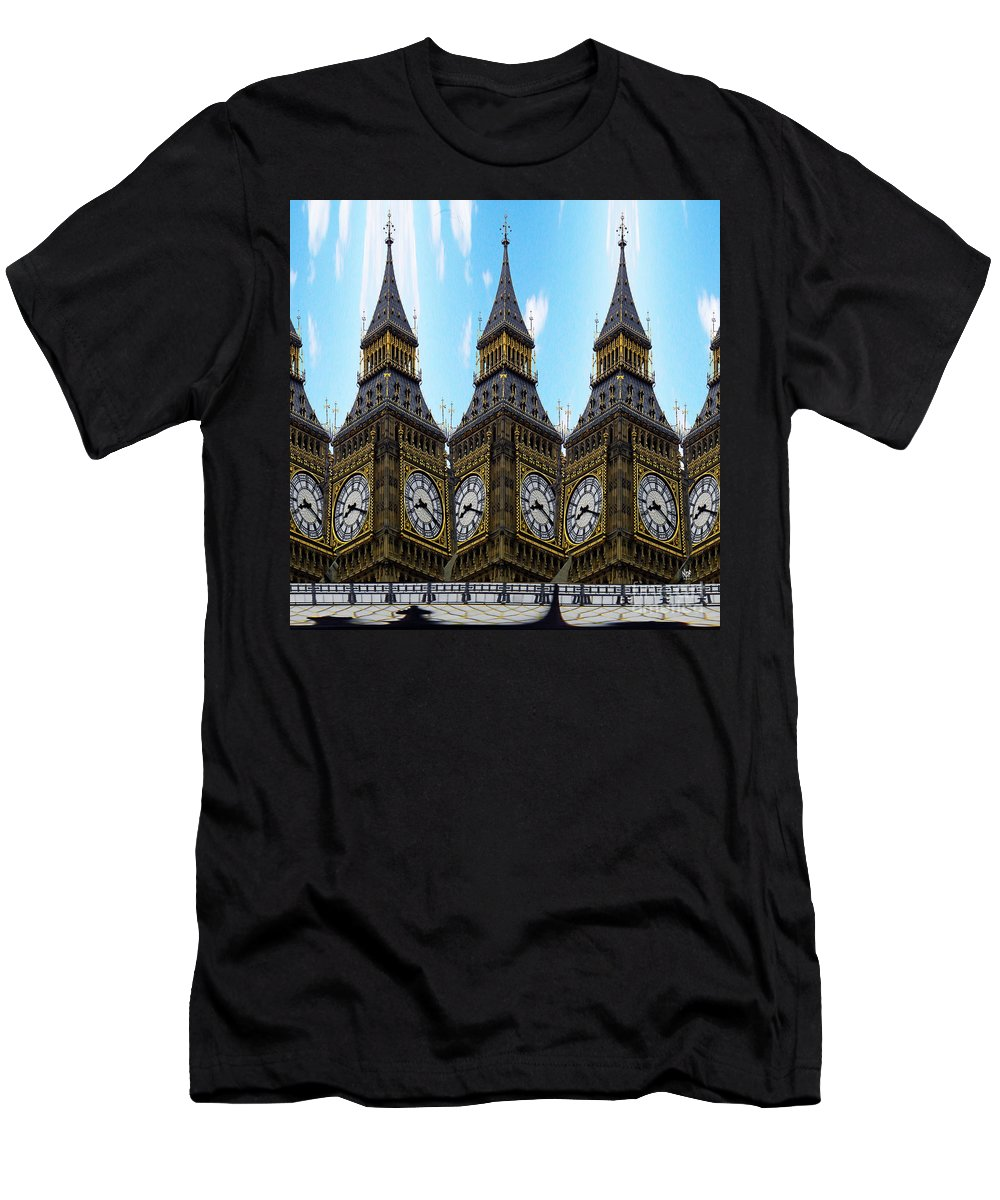 London Men's T-Shirt (Athletic Fit) featuring the painting Big Ben Time by Neil Finnemore