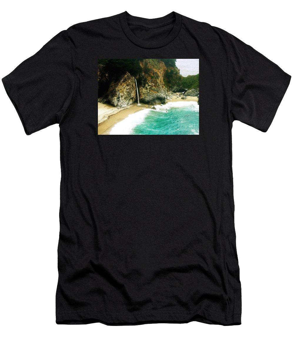 Big Sur Men's T-Shirt (Athletic Fit) featuring the photograph Big Sur Waterfall by Jerome Stumphauzer