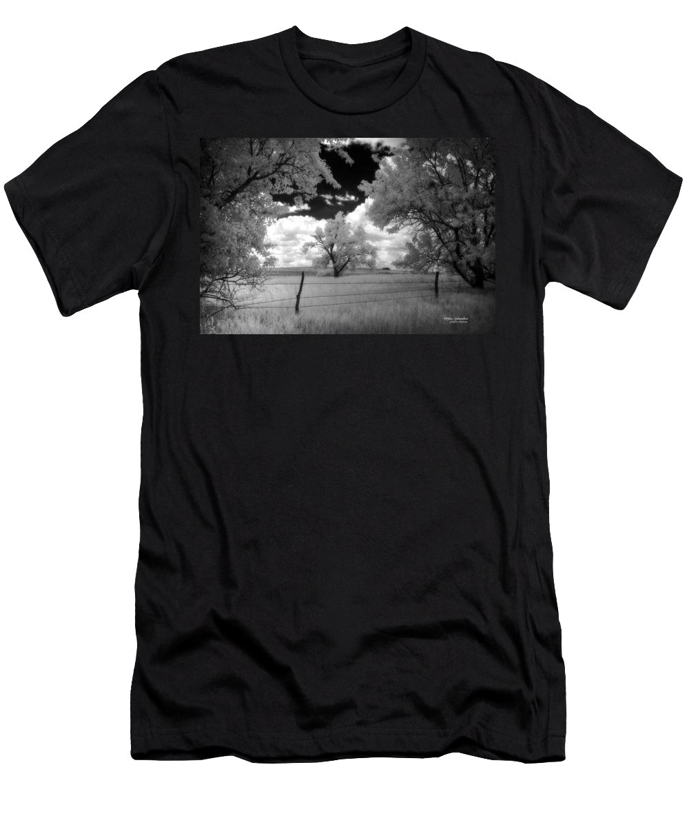 Tree Men's T-Shirt (Athletic Fit) featuring the photograph big tree in field IR by Mike Scheufler