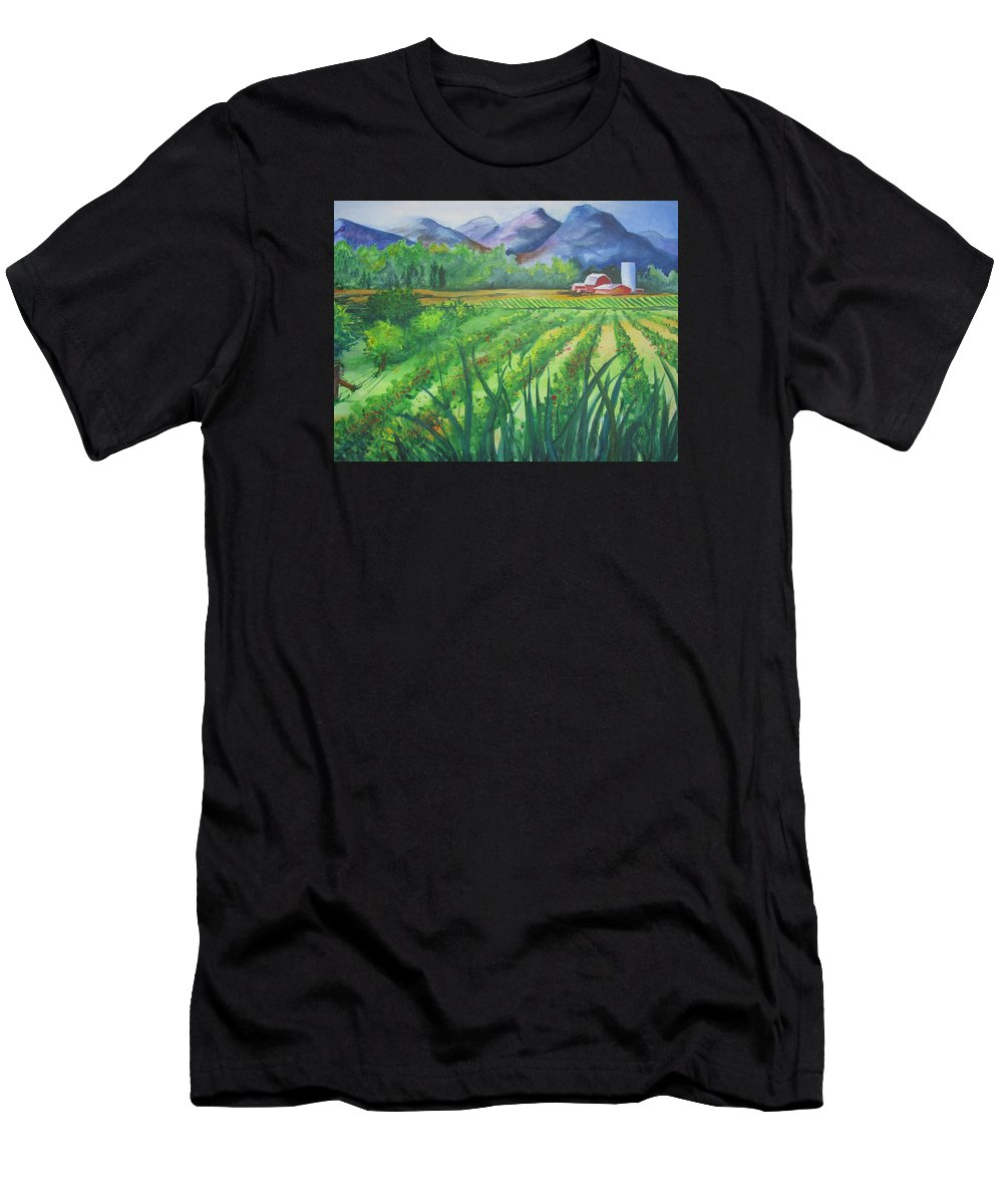 Landscape Men's T-Shirt (Athletic Fit) featuring the painting Big Valley Farm by Karen Stark