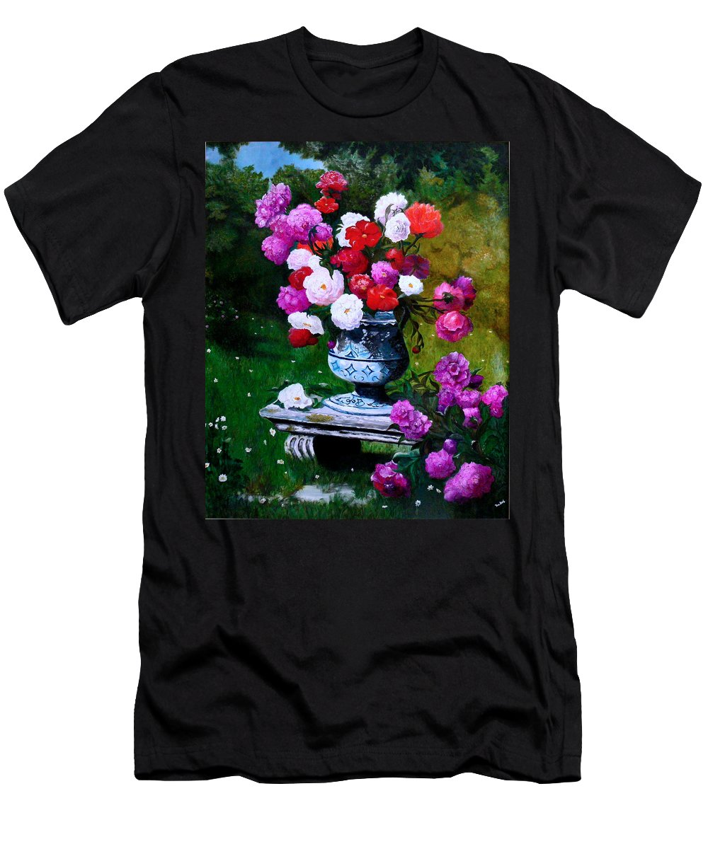 Stilllife Men's T-Shirt (Athletic Fit) featuring the painting Big Vase With Peonies by Helmut Rottler