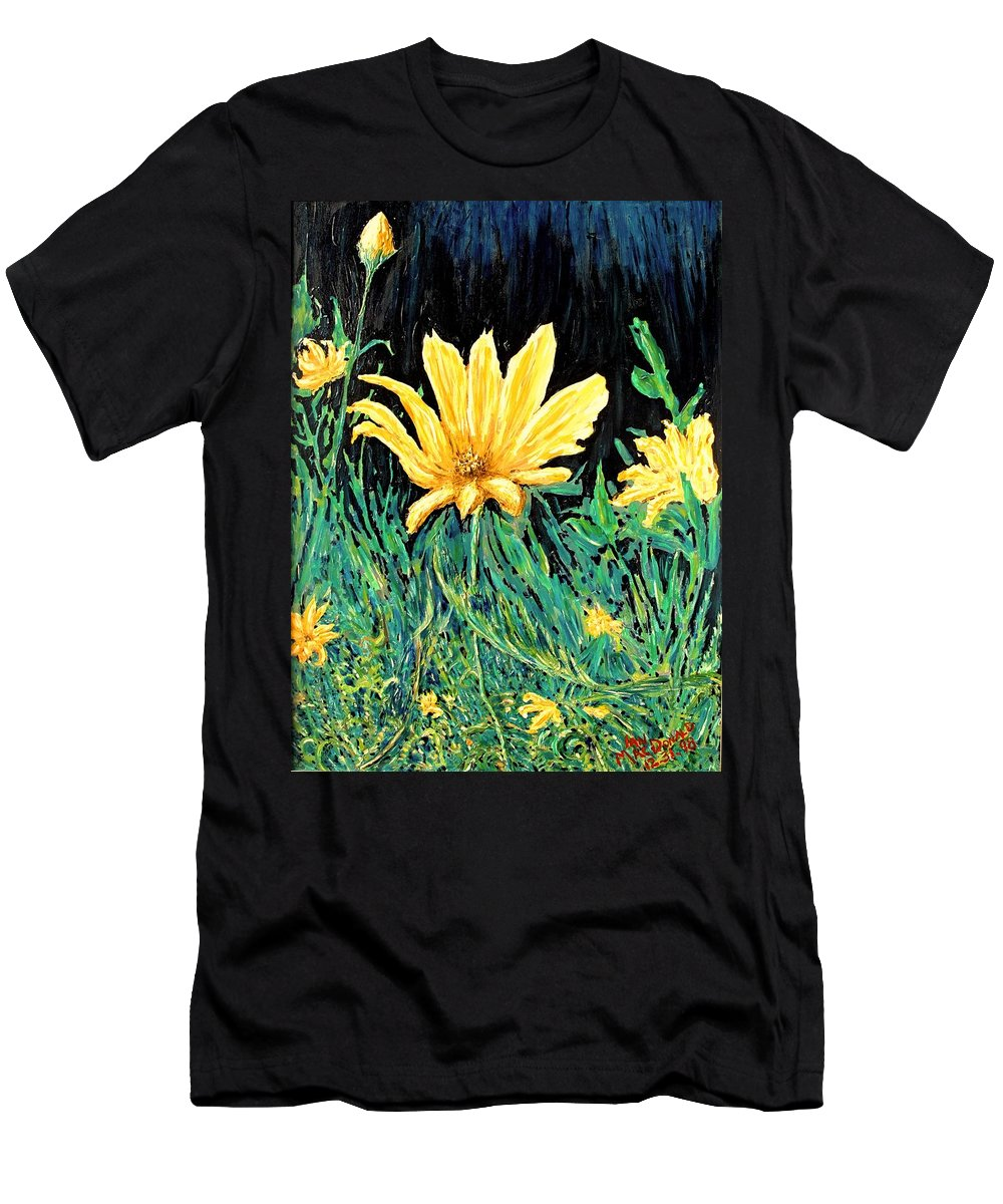Flower Men's T-Shirt (Athletic Fit) featuring the painting Big Yellow by Ian MacDonald