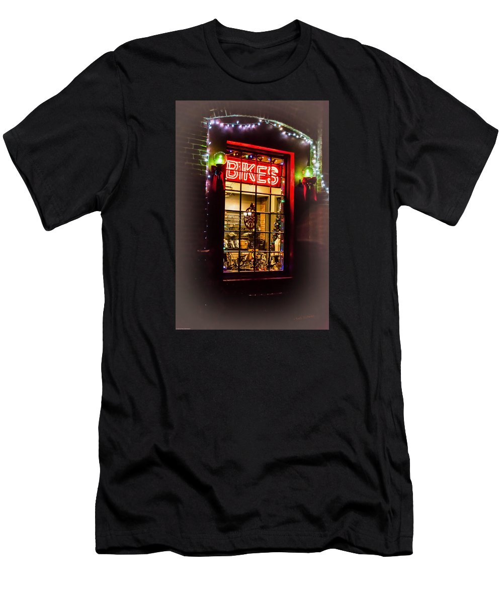Bike Shop Window Men's T-Shirt (Athletic Fit) featuring the photograph Bike Shop Window by Mick Anderson