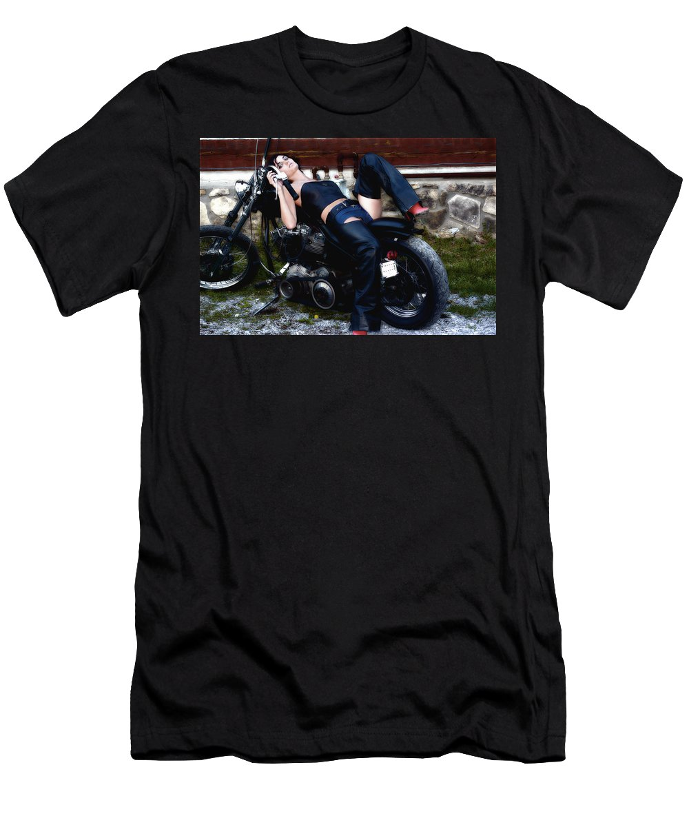 Clay Men's T-Shirt (Athletic Fit) featuring the photograph Bikes And Babes by Clayton Bruster