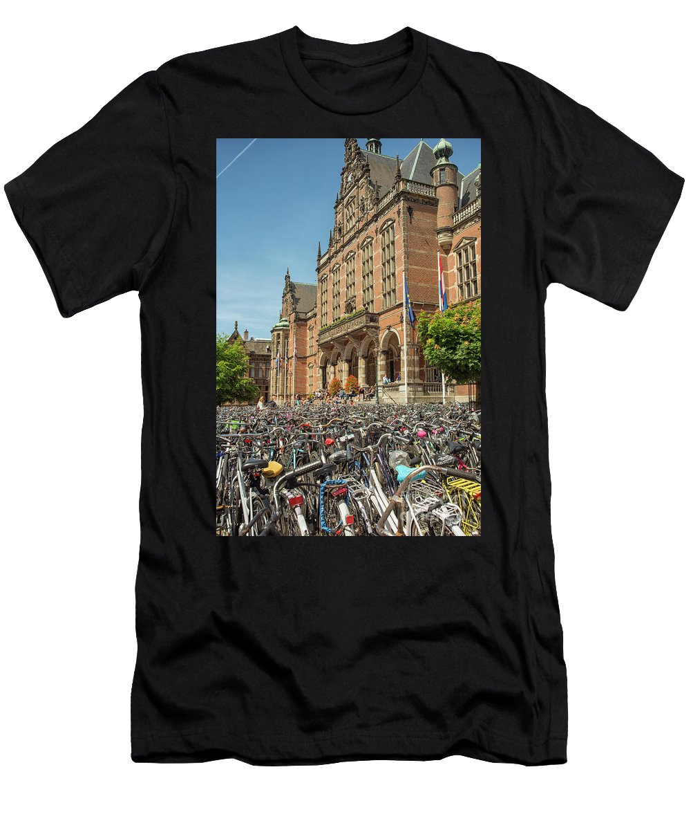Academic Men's T-Shirt (Athletic Fit) featuring the photograph Bikes In Front Of Dutch University by Patricia Hofmeester