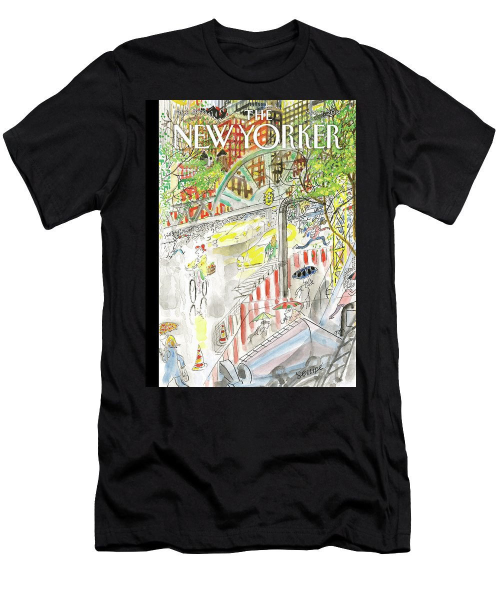 Biking In The Rain Men's T-Shirt (Athletic Fit) featuring the painting Biking In The Rain by Jean-Jacques Sempe