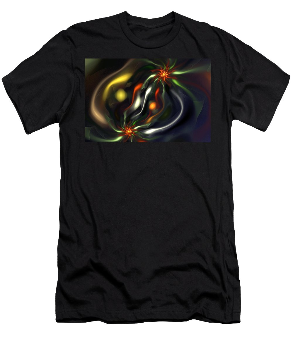 Digital Painting Men's T-Shirt (Athletic Fit) featuring the digital art Binary Attractors by David Lane
