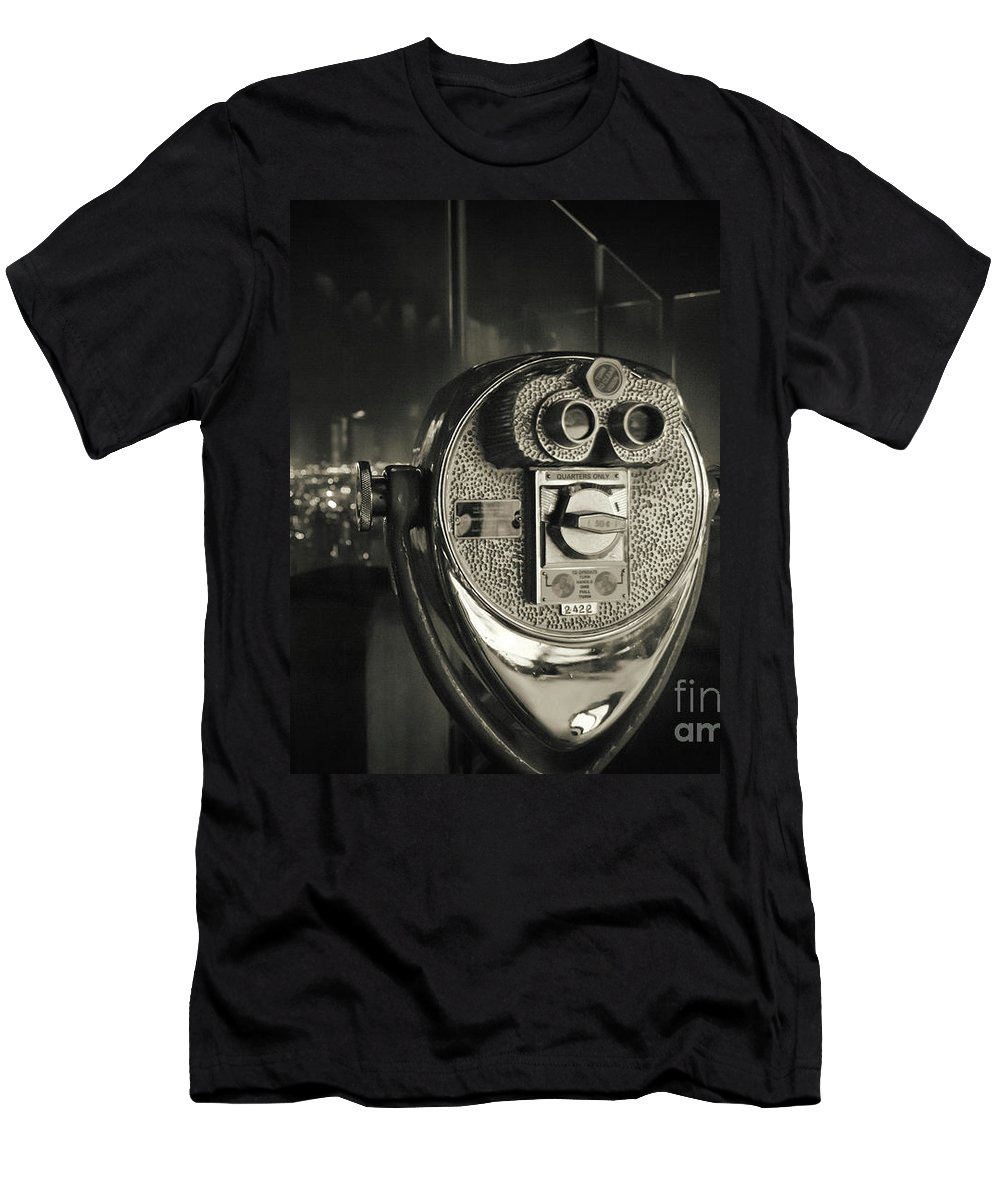 Retro Men's T-Shirt (Athletic Fit) featuring the photograph Binocular In New York City, Image In Grunge And Retro Style. by Antonio Gravante