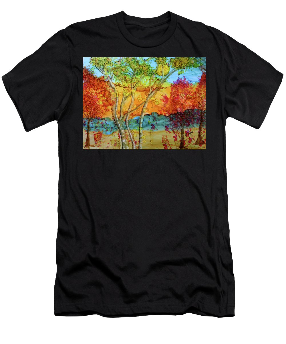 Painting Men's T-Shirt (Athletic Fit) featuring the painting Birch And Liquid Amber by Donna Coupe