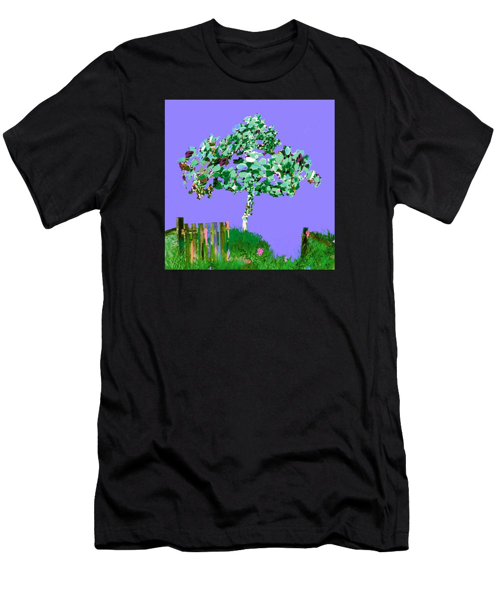 Michigan Purple Lavender Abstract Birch Tree Nature Garden Fence Beach Soft Pastels Men's T-Shirt (Athletic Fit) featuring the digital art Birch Beach Michigan by Mhairi C James