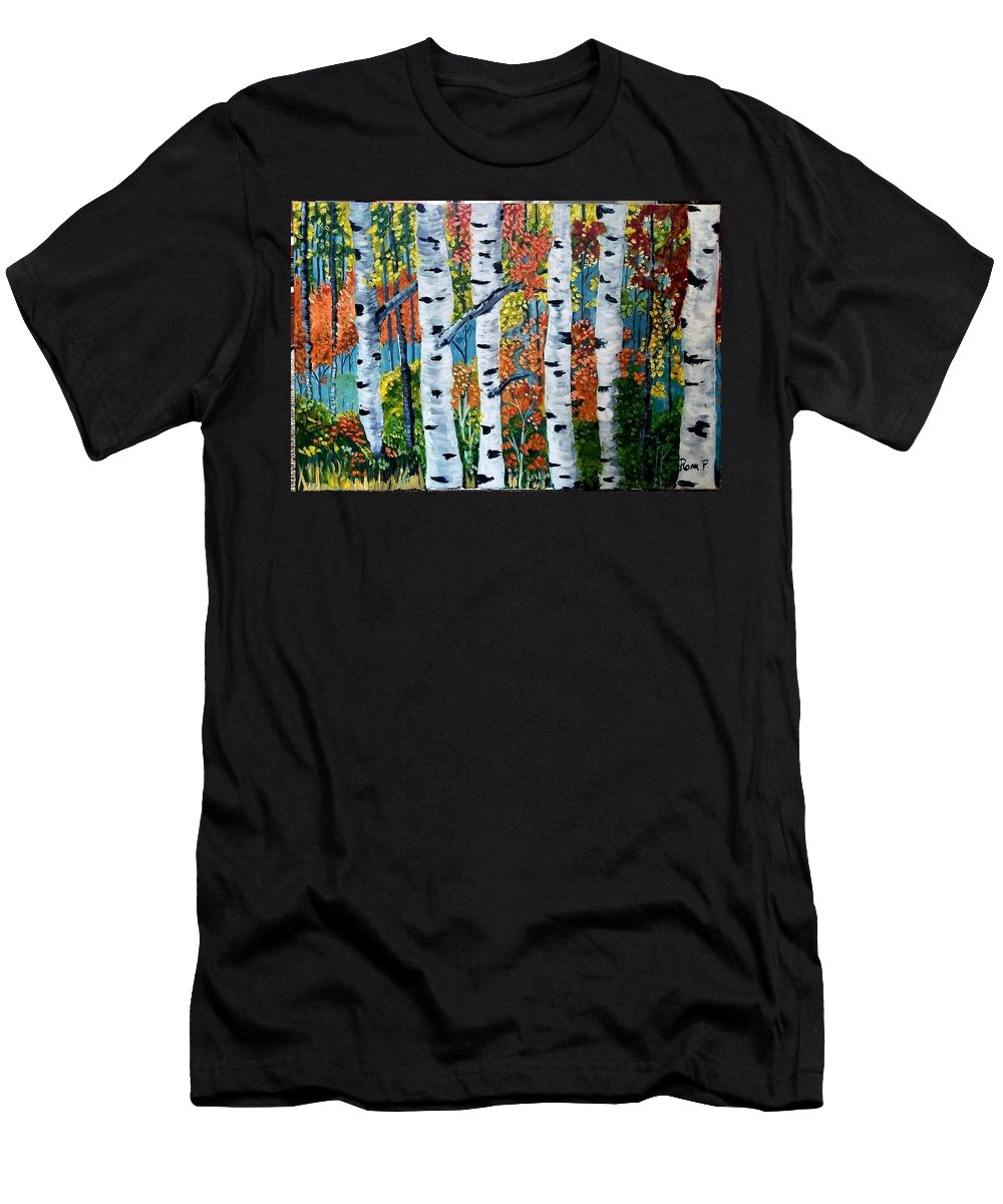 Birch Tree's In The Forest Men's T-Shirt (Athletic Fit) featuring the painting Birch Tree's by Rona Playda