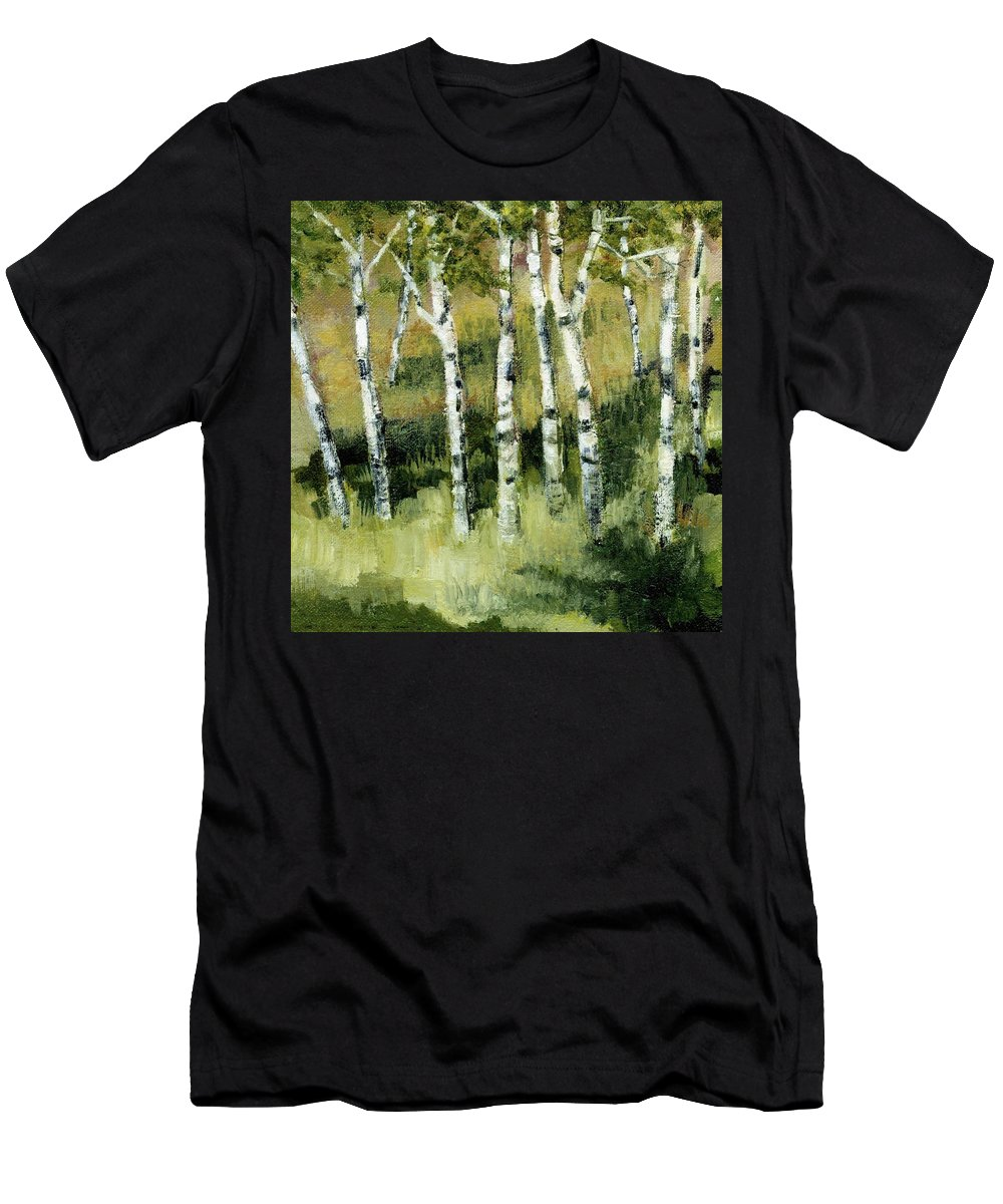 Trees Men's T-Shirt (Athletic Fit) featuring the painting Birches On A Hill by Michelle Calkins