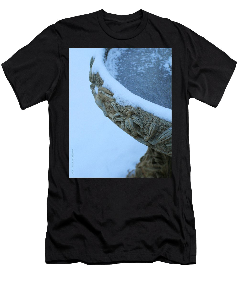 Holiday Men's T-Shirt (Athletic Fit) featuring the photograph Bird Bath In The Snow by Traditionally Unique Photography