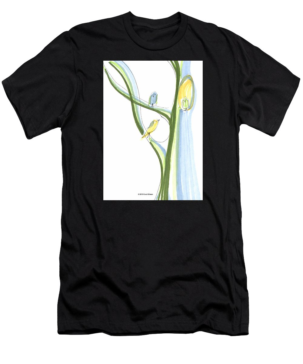 Bird Men's T-Shirt (Athletic Fit) featuring the drawing Bird Chatter In The Branches by Carol Gilman