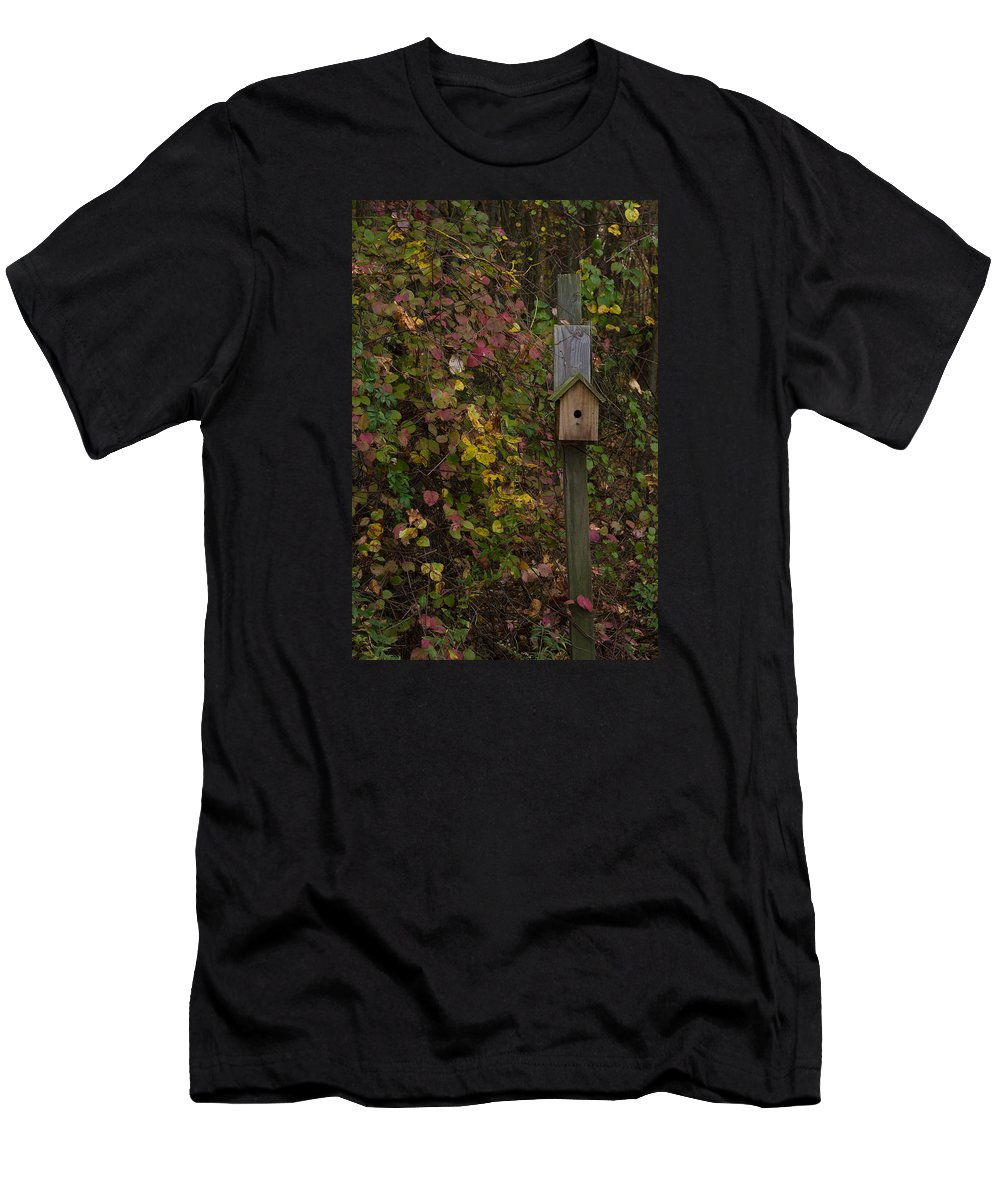 Bird House Foliage Fall Autumn Men's T-Shirt (Athletic Fit) featuring the photograph Bird House by Brian Schultz