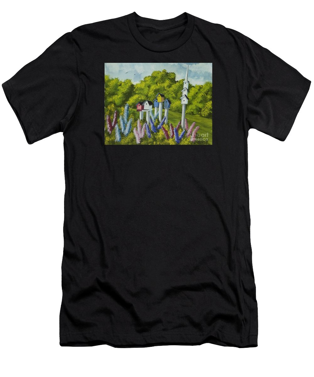 Birdhouses Men's T-Shirt (Athletic Fit) featuring the painting Bird Metropolis by Charlotte Blanchard