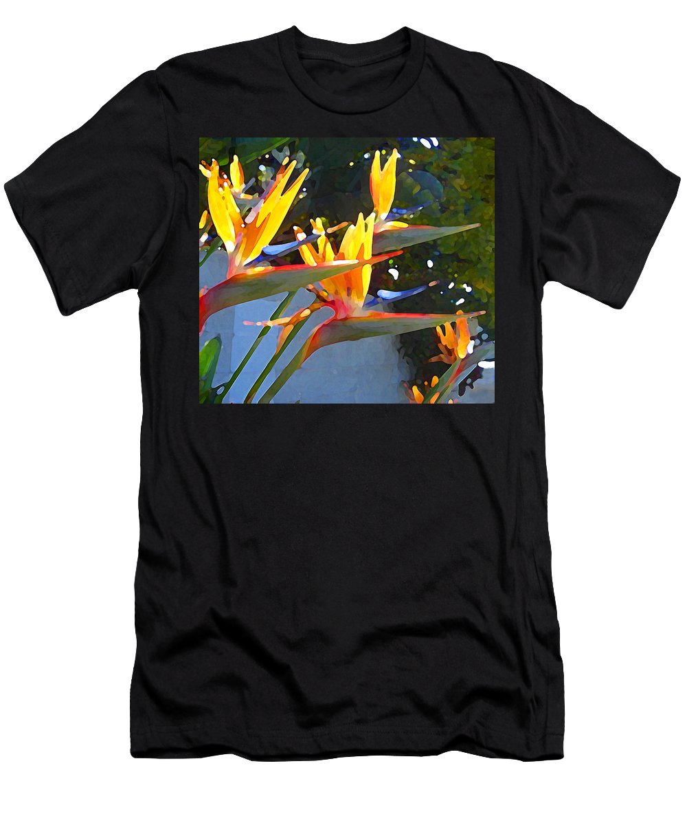 Abstract Men's T-Shirt (Athletic Fit) featuring the painting Bird Of Paradise Backlit By Sun by Amy Vangsgard