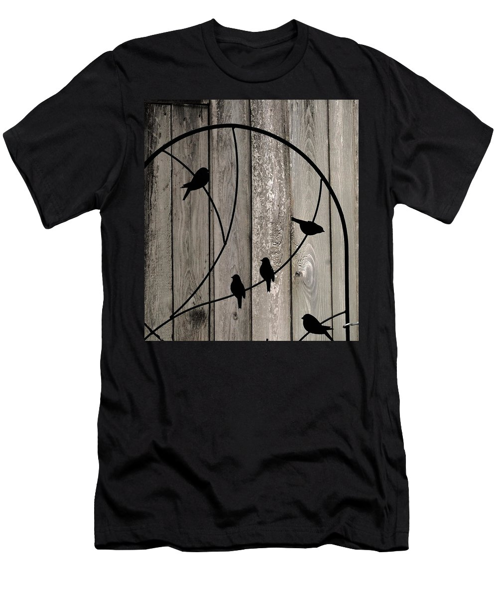 Birds Men's T-Shirt (Athletic Fit) featuring the photograph Bird Silhouettes On The Fence by James DeFazio