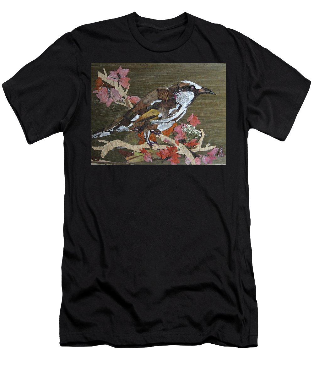 Bird Men's T-Shirt (Athletic Fit) featuring the mixed media Bird White Eye by Basant Soni