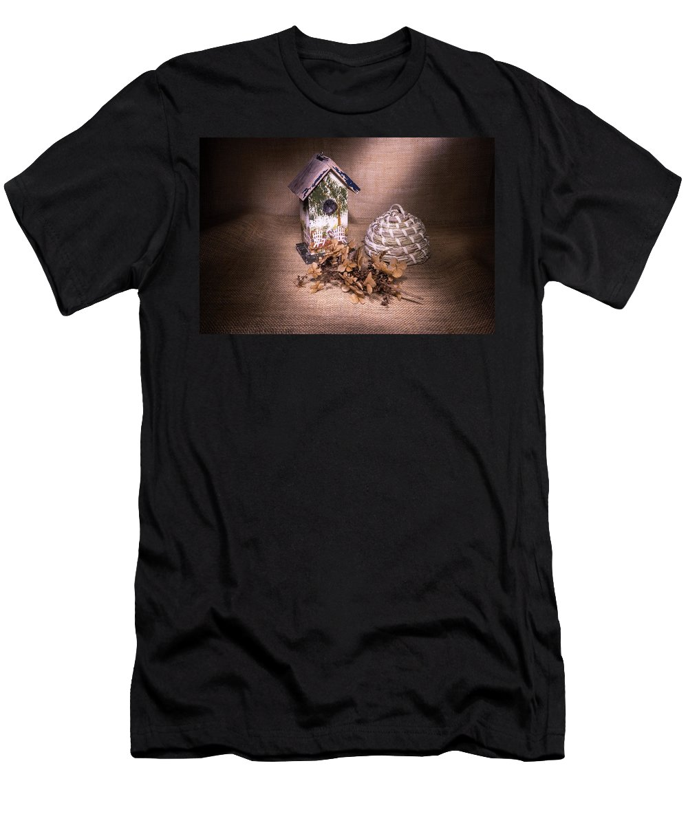 Birdhouse Men's T-Shirt (Athletic Fit) featuring the photograph Birdhouse And Beehive 2 by Douglas Barnett