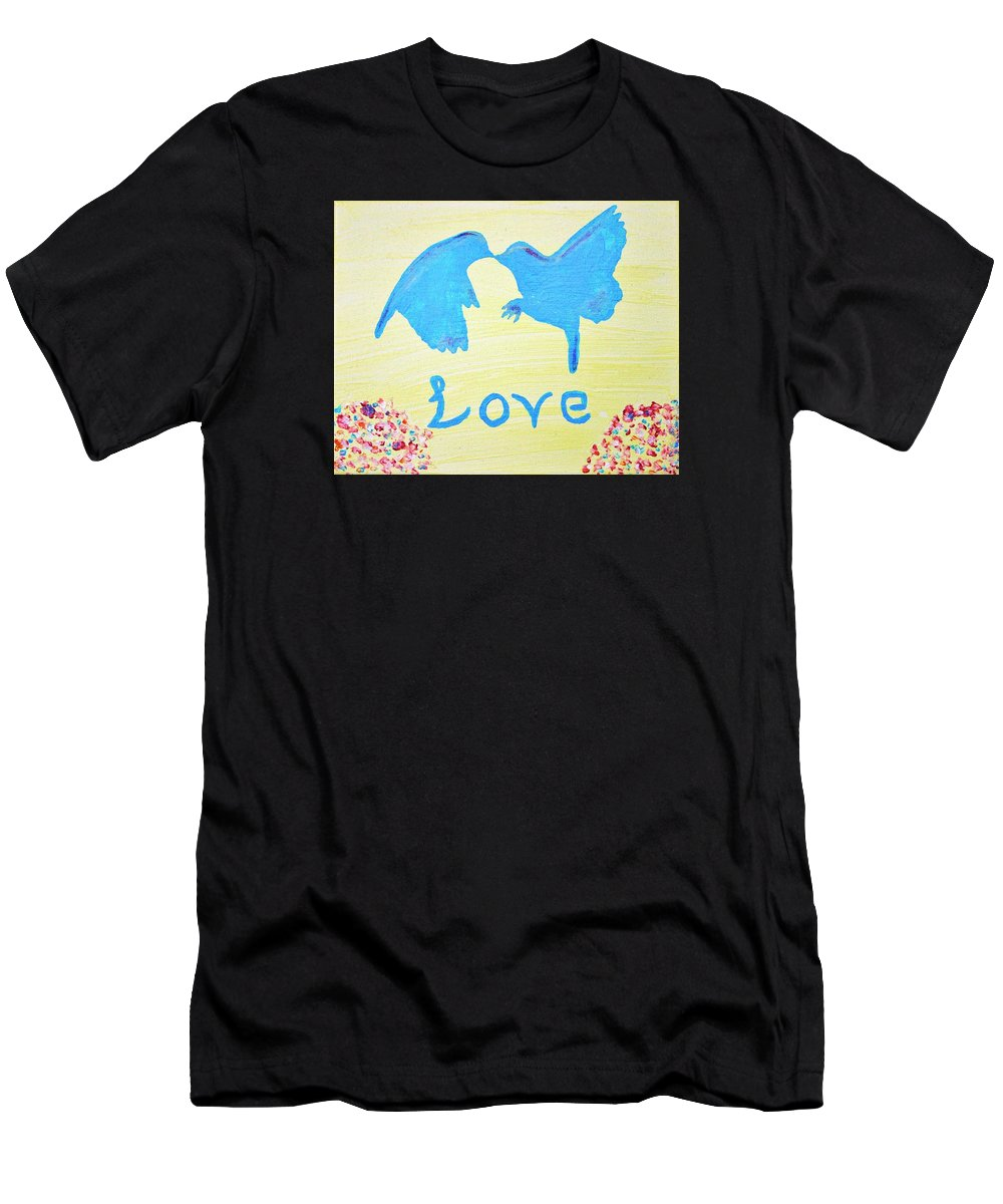 Contemporary Men's T-Shirt (Athletic Fit) featuring the painting Birdie Love by April Harker