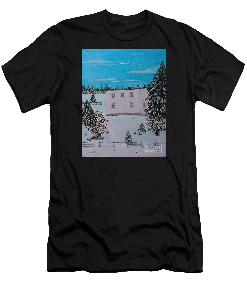 Barbara Griffin Men's T-Shirt (Athletic Fit) featuring the painting Birds Berries And November Snow by Barbara Griffin
