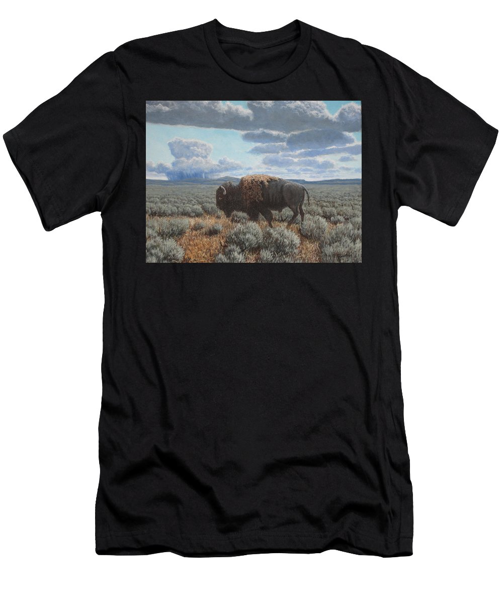 Landscape T-Shirt featuring the painting Bison Bull on the prairie by Scott Robertson