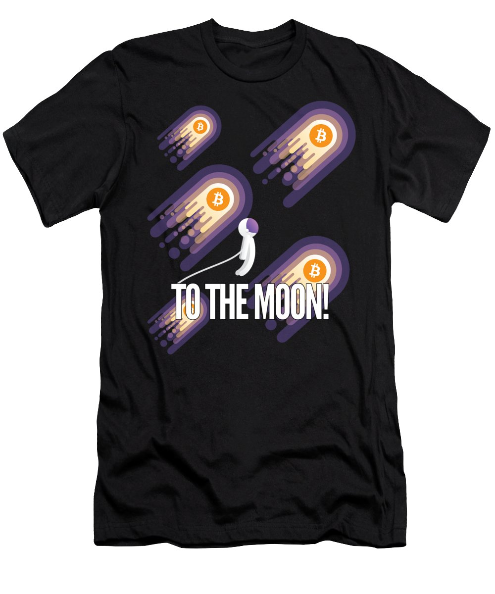 Bitcoin Men's T-Shirt (Athletic Fit) featuring the drawing Bitcoin To The Moon Astronaut Cryptocurrency Humor Funny Space Crypto by Cameron Fulton