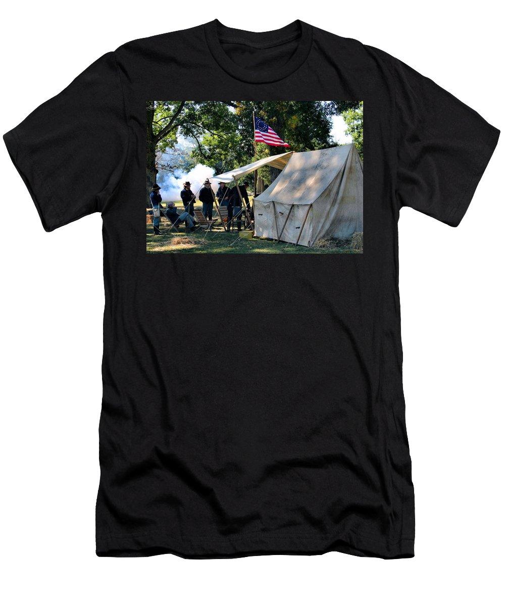 Civil War Men's T-Shirt (Athletic Fit) featuring the photograph Bivouac by Kristin Elmquist