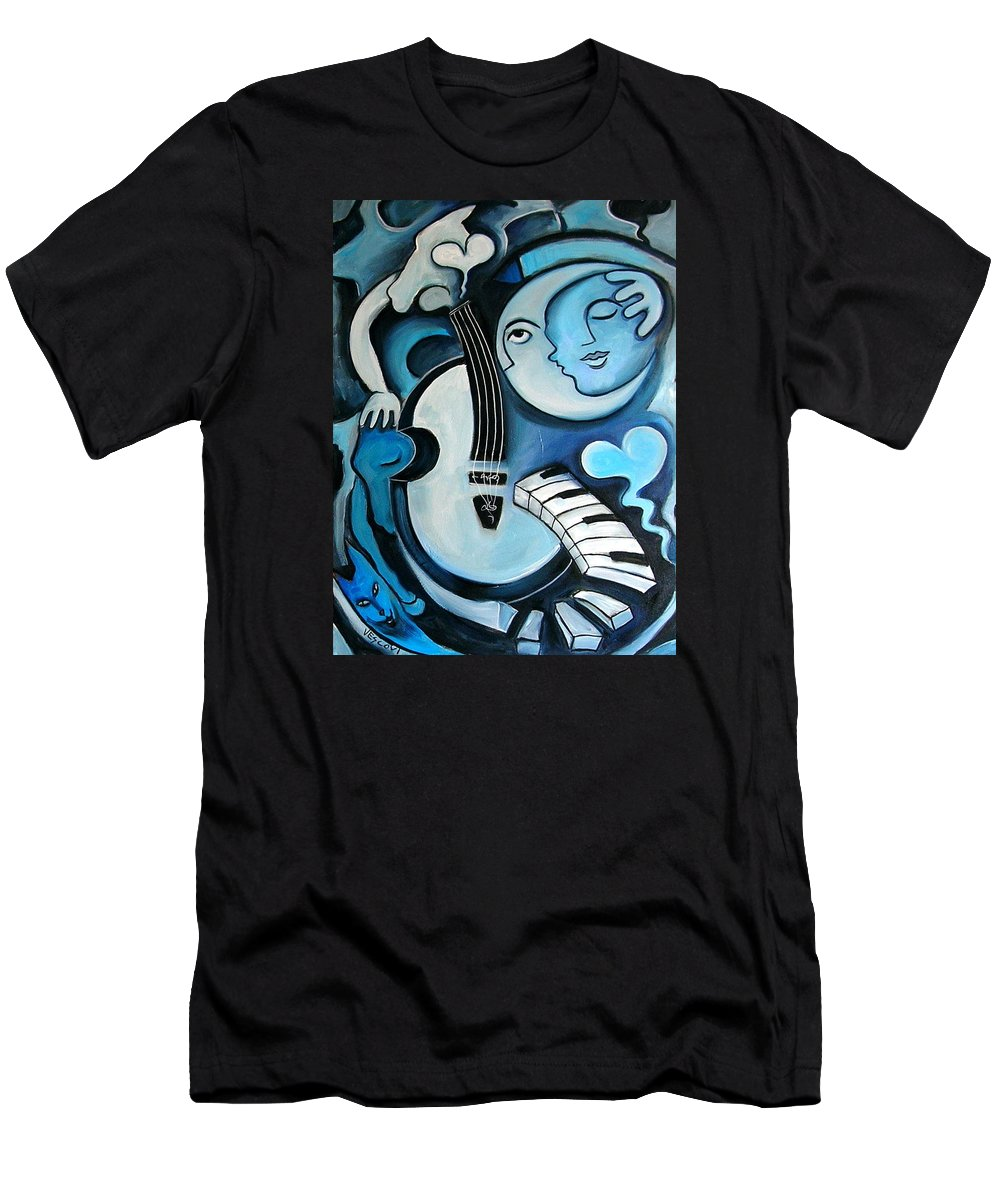 Abstract Men's T-Shirt (Athletic Fit) featuring the painting Black And Bleu by Valerie Vescovi