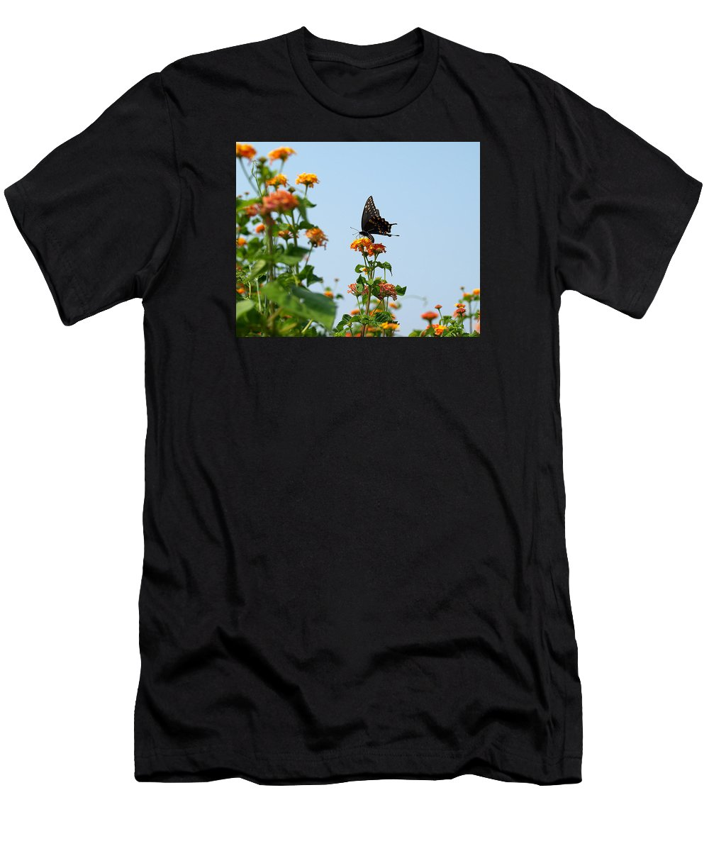 Ann Keisling Men's T-Shirt (Athletic Fit) featuring the photograph Black And Blue by Ann Keisling
