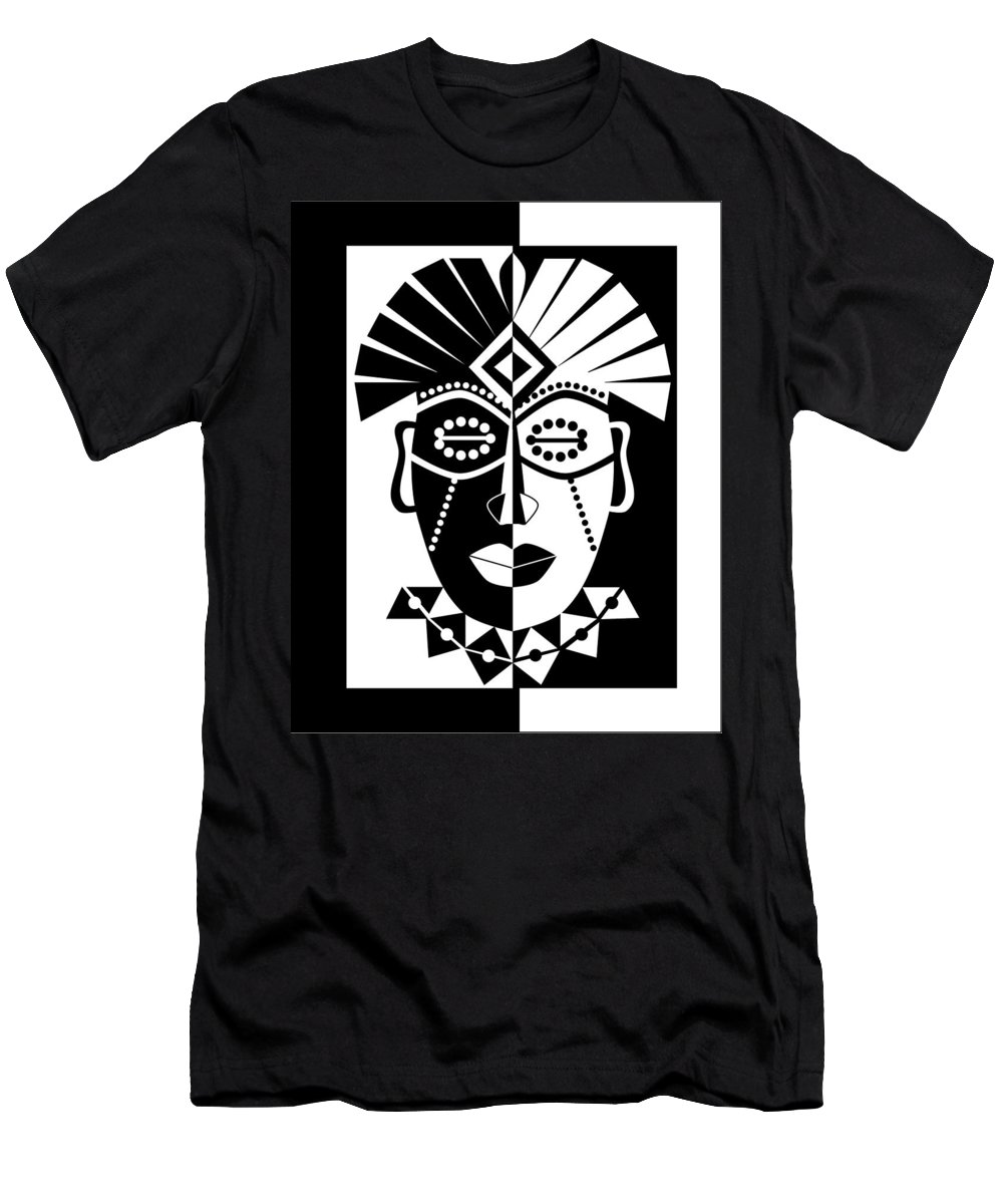 Black and white african mask t shirt for sale by karolina perlinska
