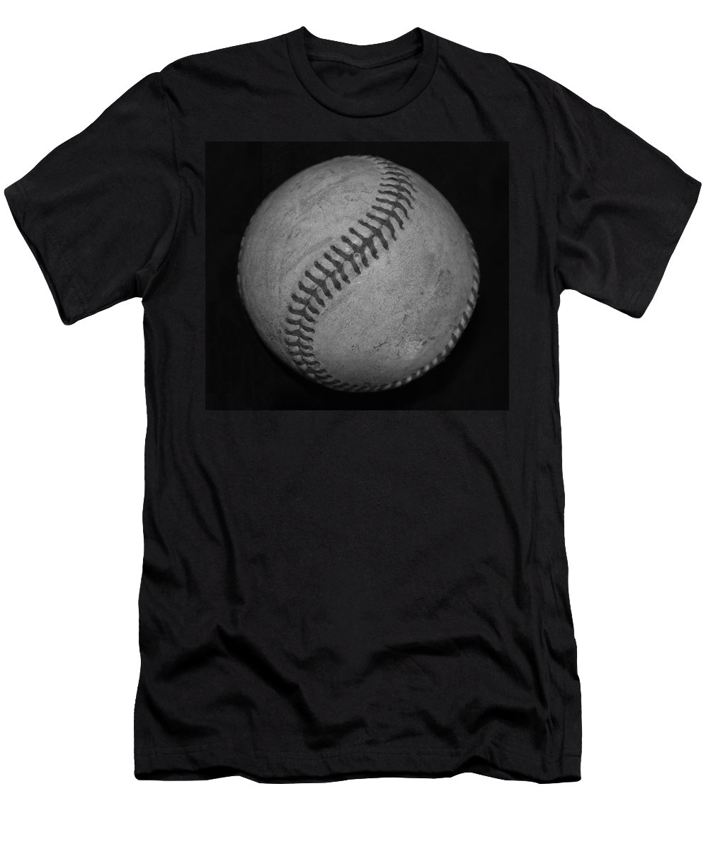 Baseball Men's T-Shirt (Athletic Fit) featuring the photograph Black And White Baseball by Rob Hans