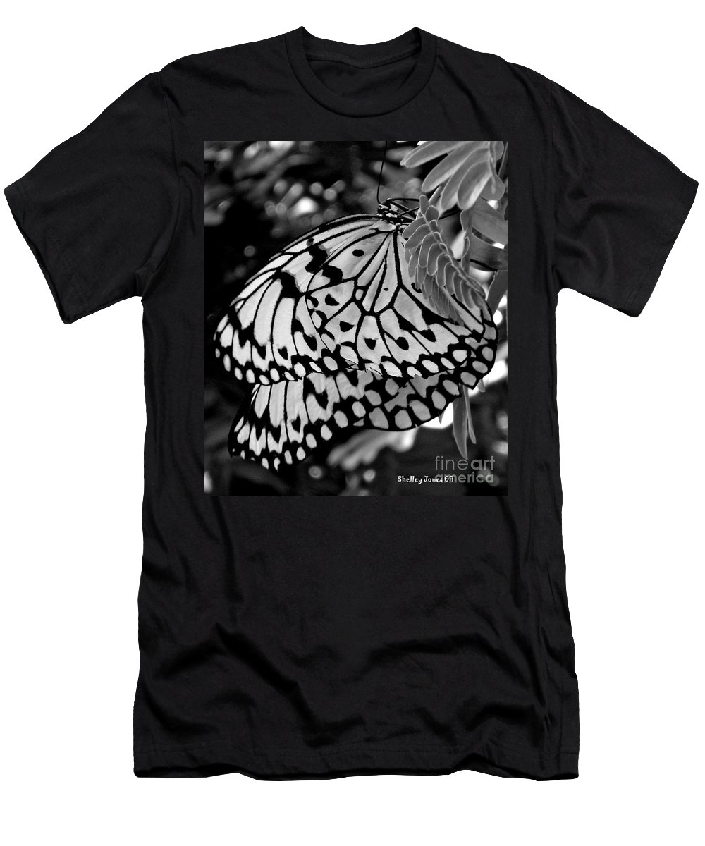 Photograph Men's T-Shirt (Athletic Fit) featuring the photograph Black And White Butterfly by Shelley Jones