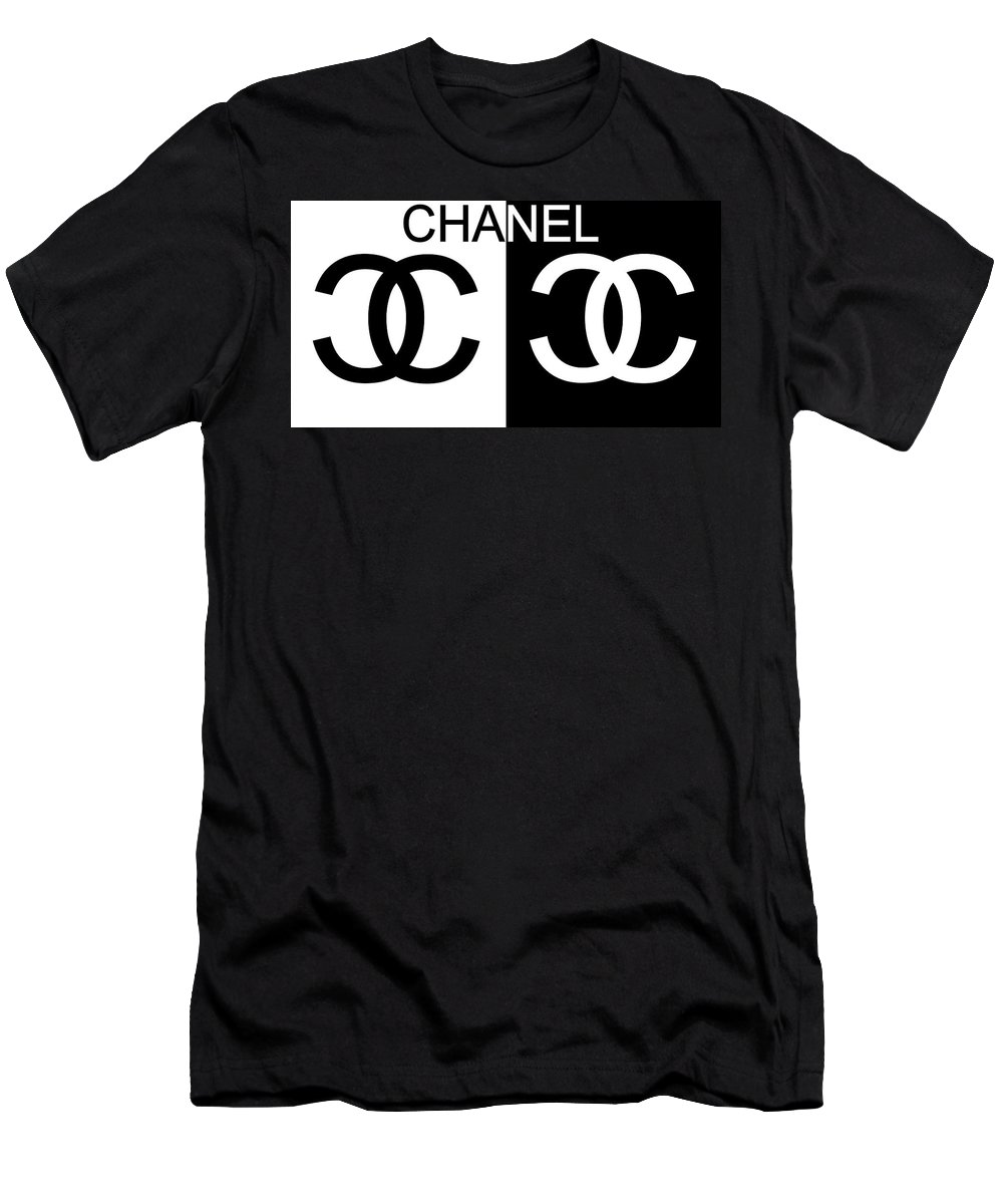 Black And White Chanel Men's T-Shirt (Athletic Fit) featuring the mixed media Black And White Chanel by Dan Sproul