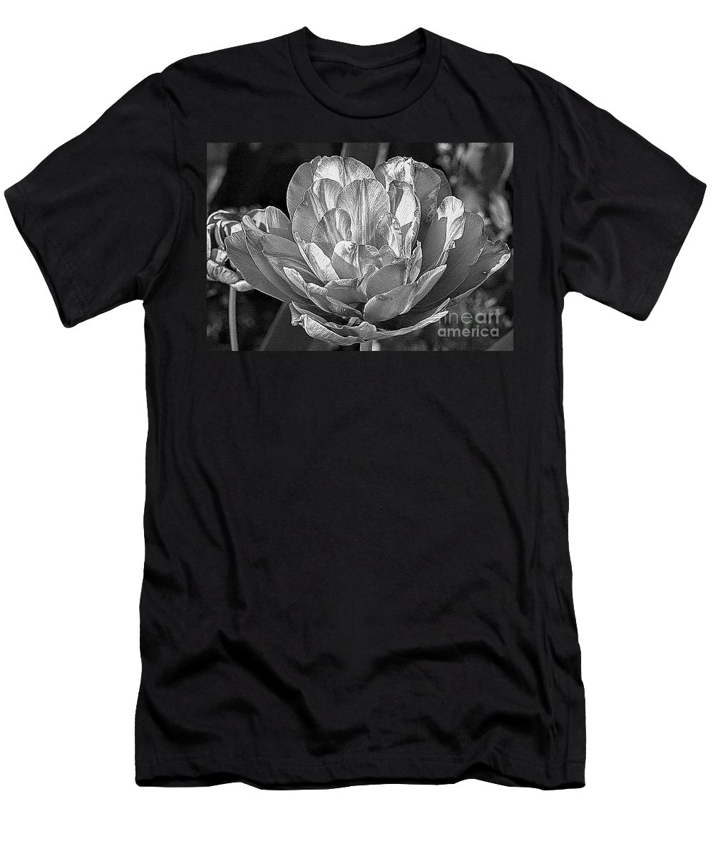 Flowers Men's T-Shirt (Athletic Fit) featuring the photograph Black And White Flower by Sophia Tallant